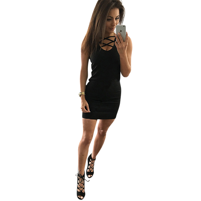 2020 Summer Sexy Slim Women Dress Solid Color U-neck Cross-belt Dress Sleeveless Plus Size Package Hip Dress 3
