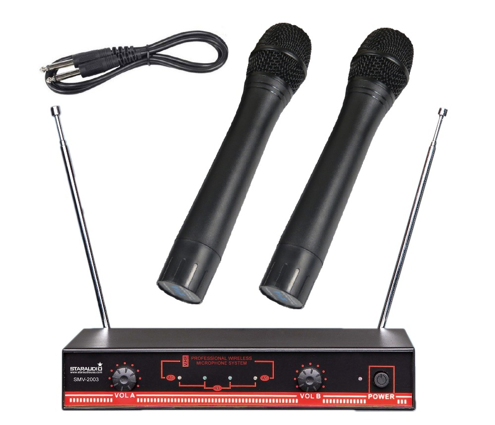STARAUDIO 2 Channel Wireless Microphone System 2CH VHF Handheld Church Party Wedding Stage Mic For Home School Speech SMV 2003A