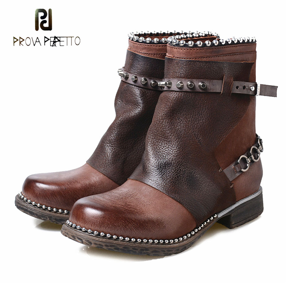Prova Perfetto retro style genuine leather ankle boots women rivet bead comfort low heel winter shoe metal decor punk style bootProva Perfetto retro style genuine leather ankle boots women rivet bead comfort low heel winter shoe metal decor punk style boot