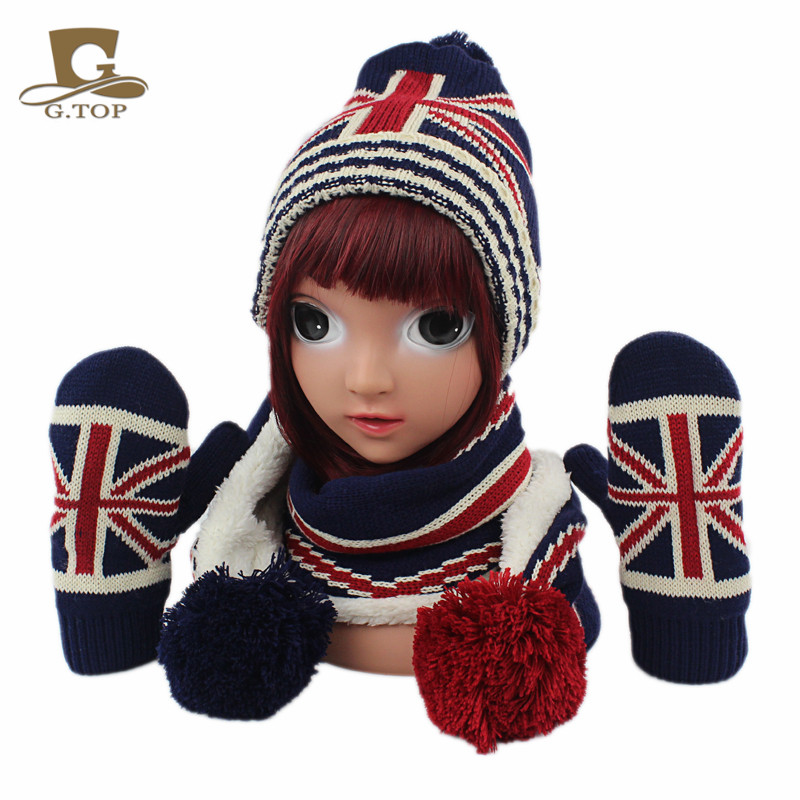 New kids children Knitted Hat font b Scarf b font Gloves 3pcs winter set UK flag