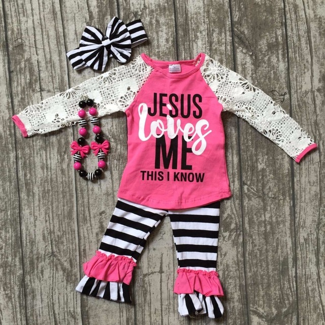 8af80a57e babygirls fall boutique outfits girls jesus loves me outfits girls lace  sleeve with stripe ruffle pant clothing with accessories