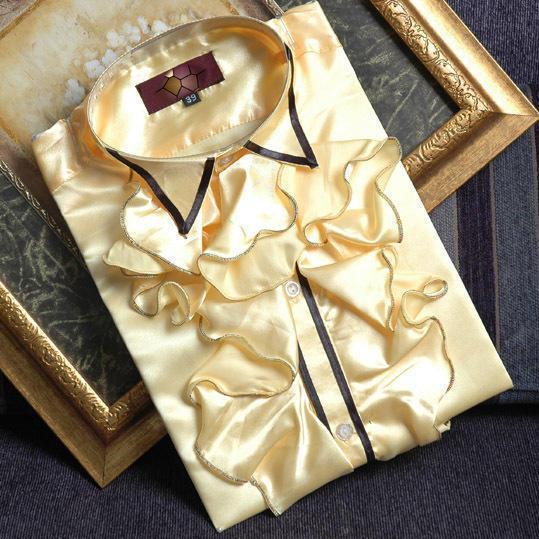 Envío libre luz amarilla con volantes desgastes bowtie decoración mens smoking camisetas camisas del partido/evento camisas