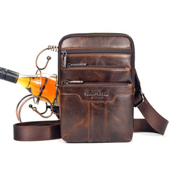 Мужская сумка через плечо из воловьей кожи с масляным воском, трендовая дорожная сумка-мессенджер, винтажная Высококачественная нагрудная ...