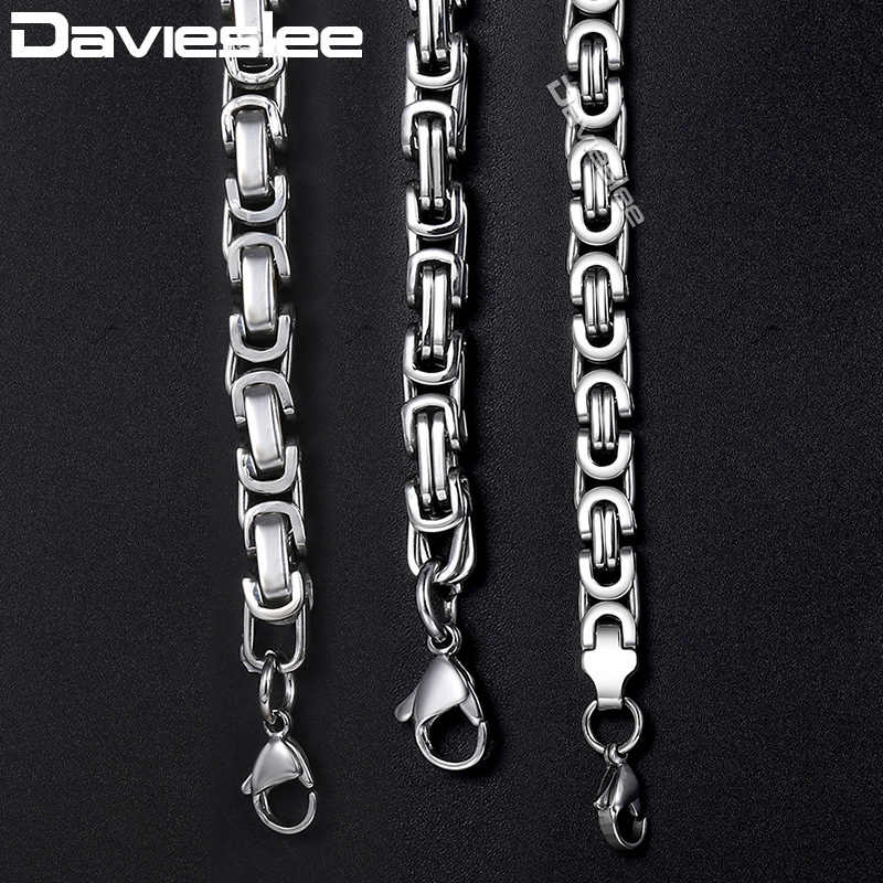 Davieslee Mens Necklaces Chains Silver Tone Stainless Steel Byzantine Chain Necklace for Men Jewelry Fashion Gift 5/7mm LKNN21