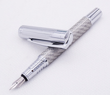 Fuliwen Carbon Fiber Exquisite Fountain Pen Medium Nib 0.7mm , Fashion Silver Color Quality Writing for Office Business