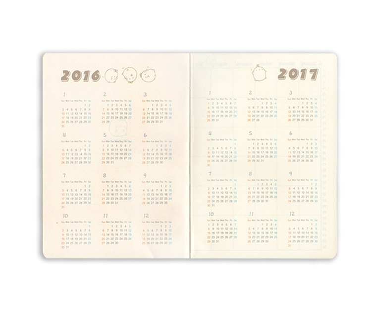 Wholesale kawayii planner for every single day Original office personal diary week planner/agenda organizer 3 colors fishing joy every day 480g