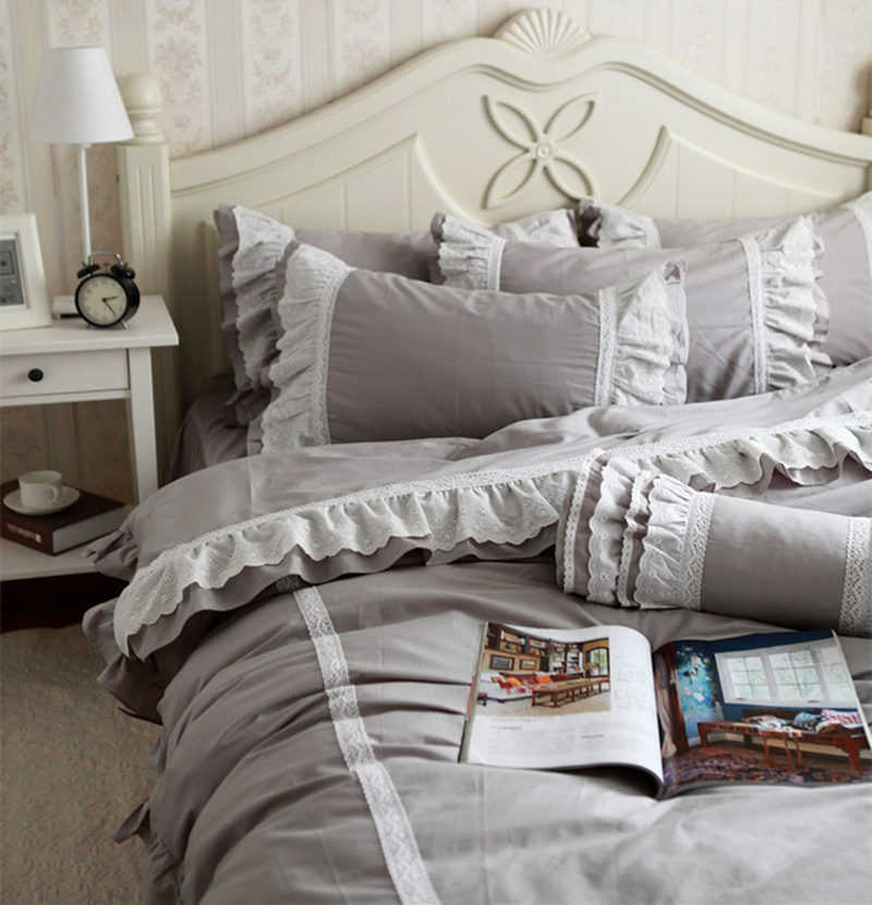 New Vintage Romantic Gracefull Bedding Set Ruffle Lace Luxury Princess Bedding Satin Drill