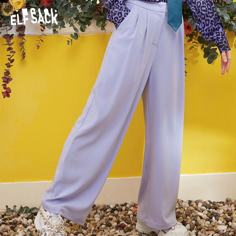 ELF SACK New Oversized Woman   Pants   Casual Drawstring   Wide     Leg     Pants   Solid Fashion Women Trousers Streetwear Office Lady   Pants