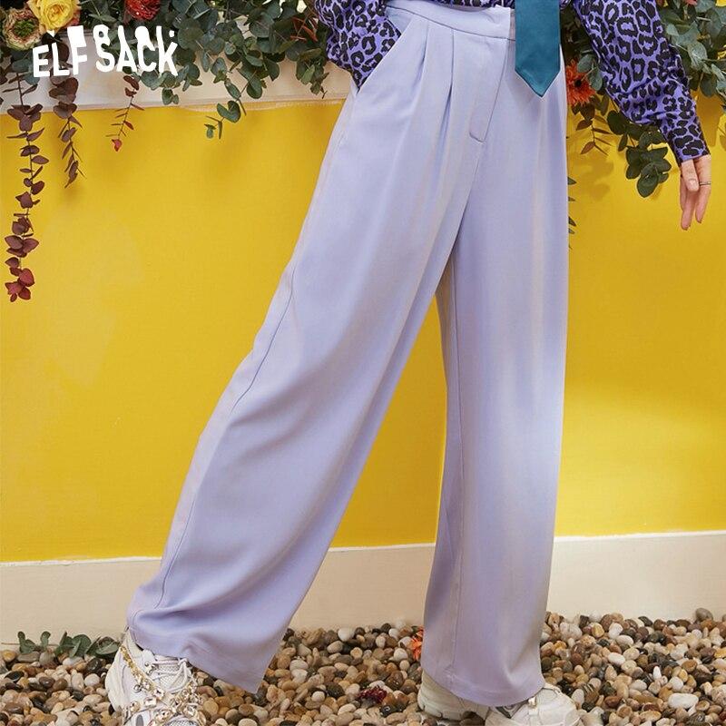 ELFSACK New Oversized Woman   Pants   Casual Drawstring   Wide     Leg     Pants   Solid Fashion Women Trousers Streetwear Office Lady   Pants