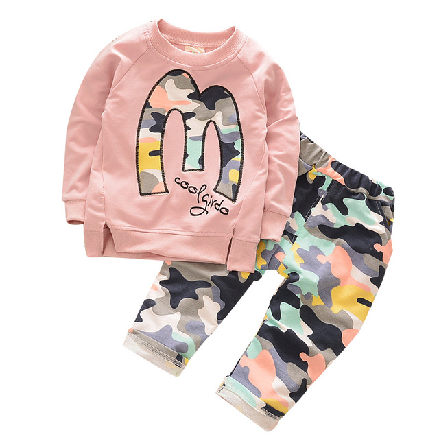 2016 Autumn new fashion cotton Long sleeve camouflage pants suit children clothing sets 1-4 year boys girls clothes