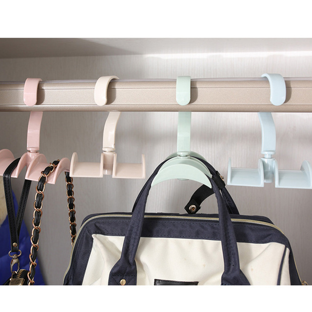 1pc Hanger Rotated Storage Rack Bag Hanger Without Punch Clothes Plastic  Rack Creative Coat Closet Hanger