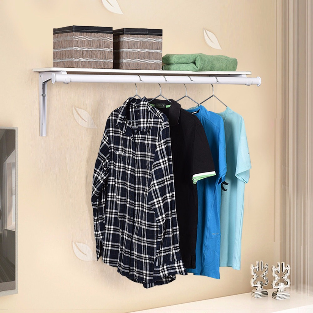 Giantex Wall Mount Folding Storage Shelf Utility Rack Holder Home Organizer Portable Clothes Hanger New Coat Jacket Rack HW53788 fixmee 50pcs white plastic invisible wall mount photo picture frame nail hook hanger