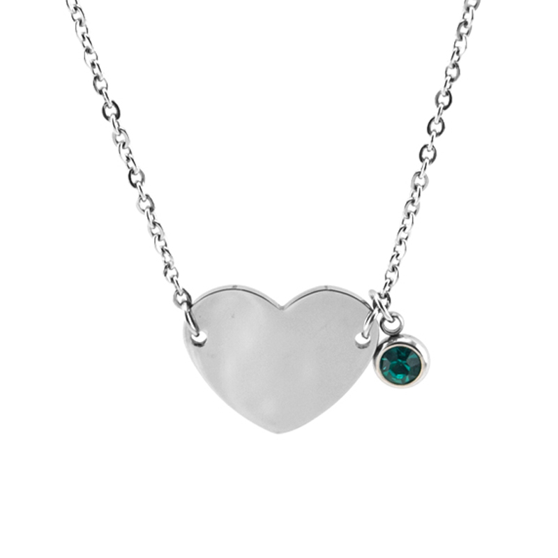 Birth Stones Heart Choker Female Women Jewelry Lucky Stone Charm Gift Rolo Chain Stainless Steel Necklace Pulseras Mujer Jewellery & Watches