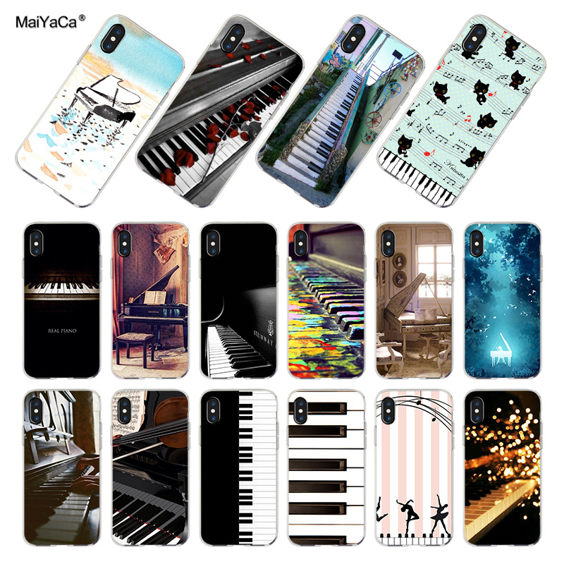 Tastele MaiYaCa Piano Keys Amant muzical cadou transparent TPU Soft Cell Phone Cover pentru iPhone XS XR 6s 7 7plus