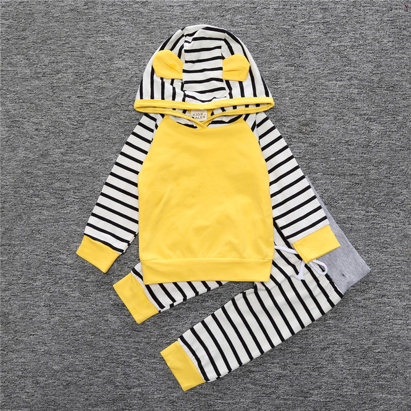 New 2017 Spirng Baby Girl Boys Clothing Sets 0-3yrs Newborn Baby Boys Yellow Long Sleeve Hoodie + Pants Outfits Set Baby Clothes 2017 new fall mustard yellow children sets ruffle butterfly sleeves infants clothing baby girl nursing accessory apparel