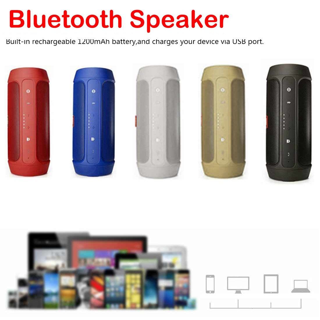 Bluetooth Speaker Portable Outdoor Loudspeaker Wireless Mini Charge 2 Plus Bluetooth Speakers Music Surround(China)