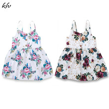 Kids Baby Girls Dress Flower Summer Princess Dress Floral Sleeveless Strappy V-Neck Button Dress High Waist Cotton Dress цена 2017