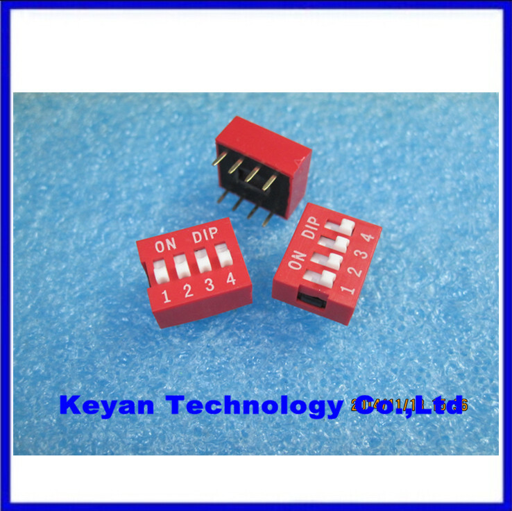 30pcs 4P 4 Position DIP Switch 2.54mm Pitch 2 Row 8 Pin DIP Switch