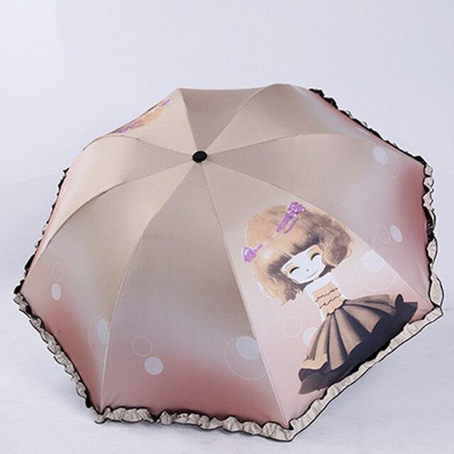 Códigos promocionales mejor precio super popular Caricatura Linda niña niños paraguas encaje negro recubrimiento UV sol  plegable lluvia mujeres Kawaii 50ys068