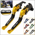 GOLD CNC Adjustable Foldable Extendable Motorbike Brakes Clutch Levers For YAMAHA R6 YZF600 YZF-R6 2005-2014 (With Logo:YZF R6)