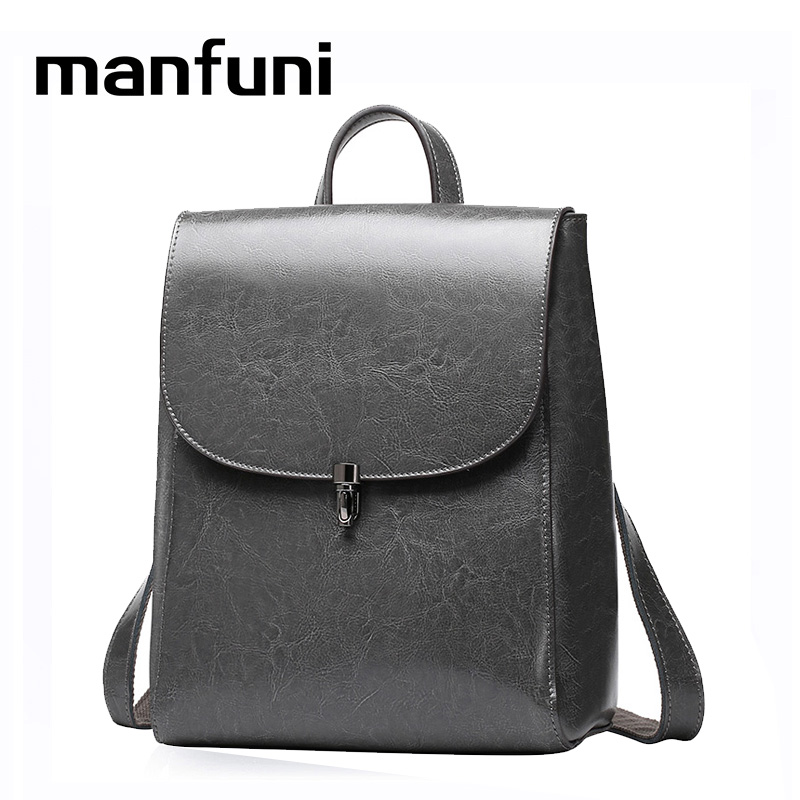 MANFUNI Leather casual simple shoulder kanken bag lady oil wax leather backpack travel mini school bag for girls
