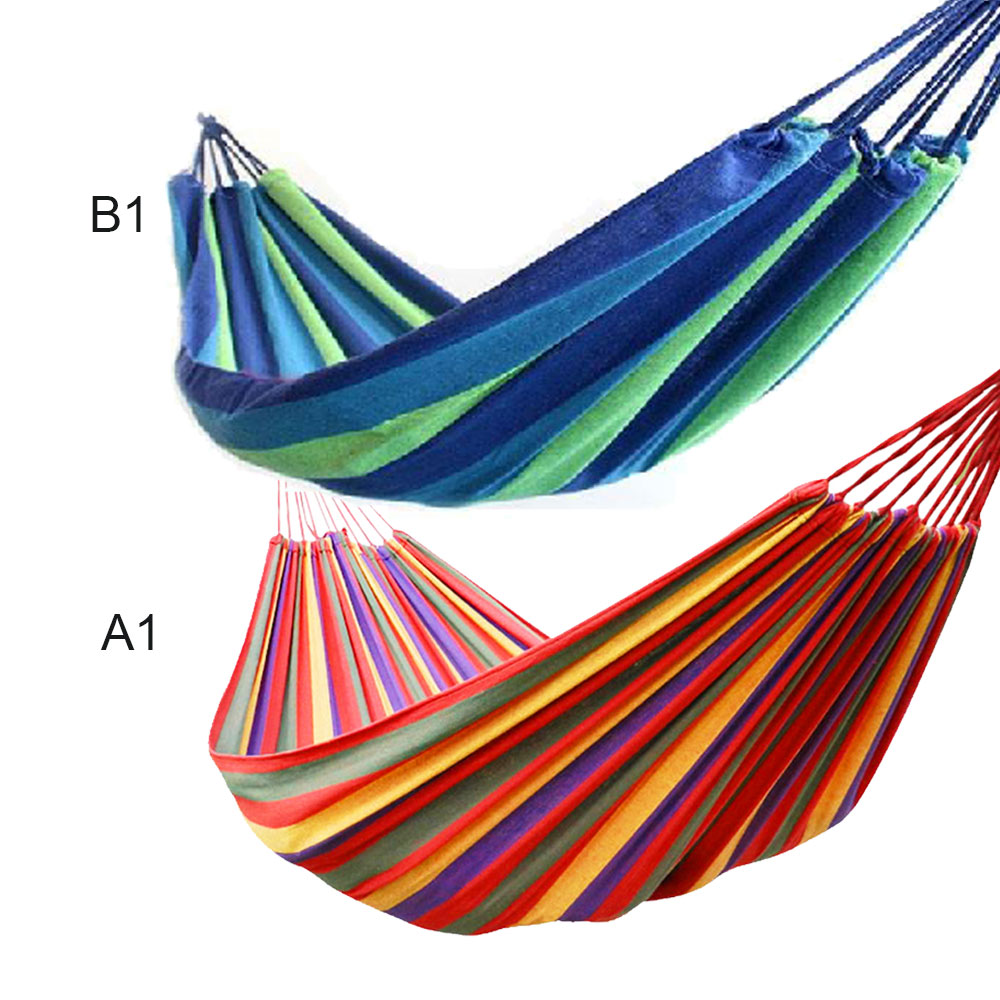 1set Portable 280*80cm Load-bearing Outdoor Garden Stripe Hammock Hang Bed Travel Camping Swing Survival Outdoor Sleeping