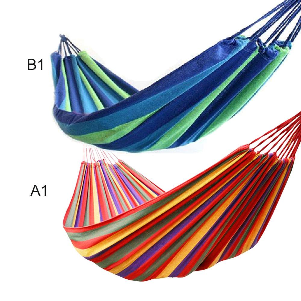 1set Portable 280*80cm Load-bearing Outdoor Garden Stripe Hammock Hang Bed Travel Camping Swing Survival Outdoor Sleeping