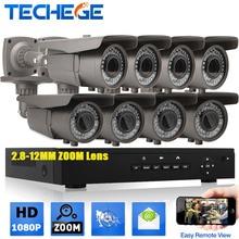 Completa 8CH 1080 P POE NVR kit 48 V POE 8 UNIDS 2.0mp PoE Cámara IP de 2.8-12 MM zoom P2P Nube cctv sistema de vigilancia de vídeo del sistema