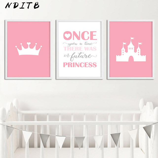 NDITB Baby Girl Nursery Wall Art Canvas Painting Crown Castle ...