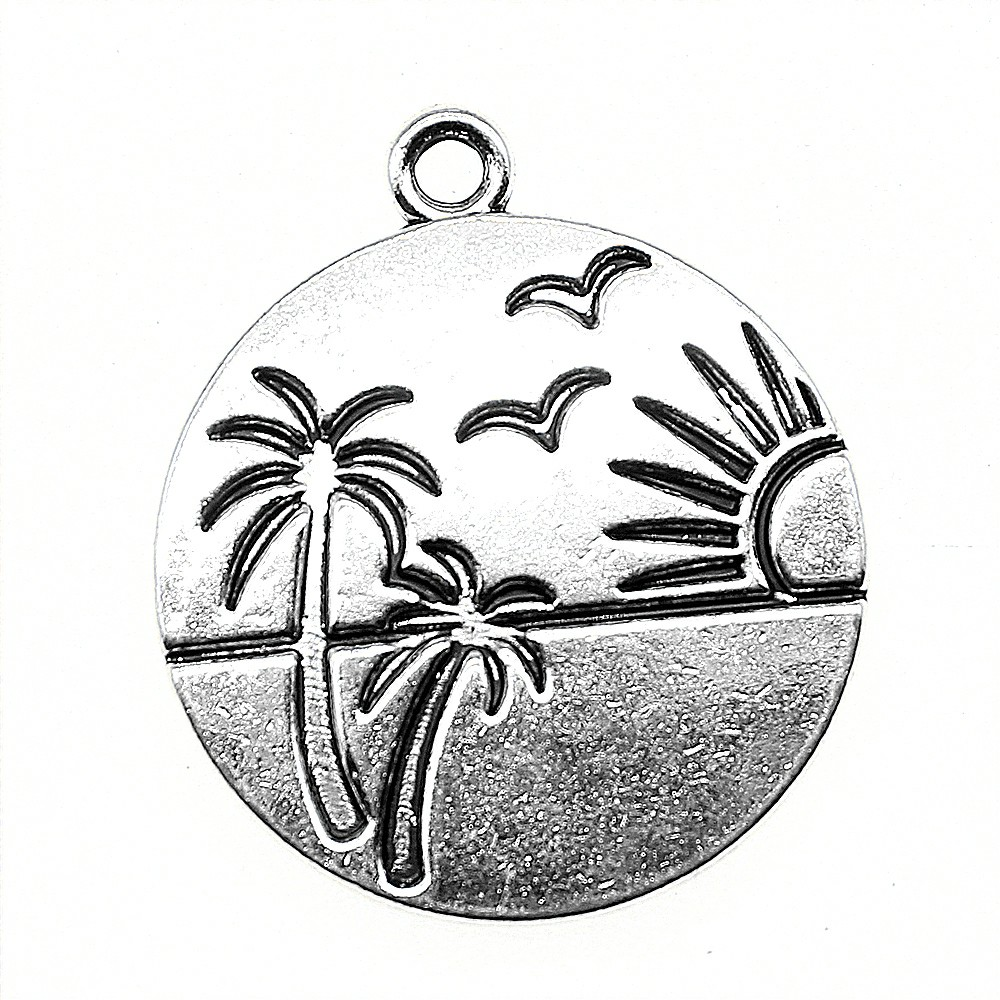 MEXICO Country Map Shaped 24mm Antiqued Silver Traditional Charm 1pc