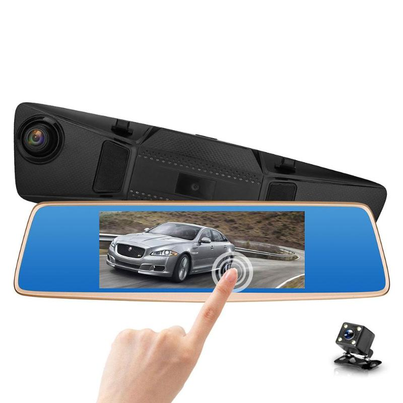 ALLOYSEED V36 7 inch Dual Lens 1080P HD Car Rearview Mirror DVR Camera Auto Car 170 Degree Lens G-sensor Dash Cam Video Recorder dual camera dvr 1080p 170 degree wide angle dash cam rearview mirror car camera auto dashcam recorder revresing images