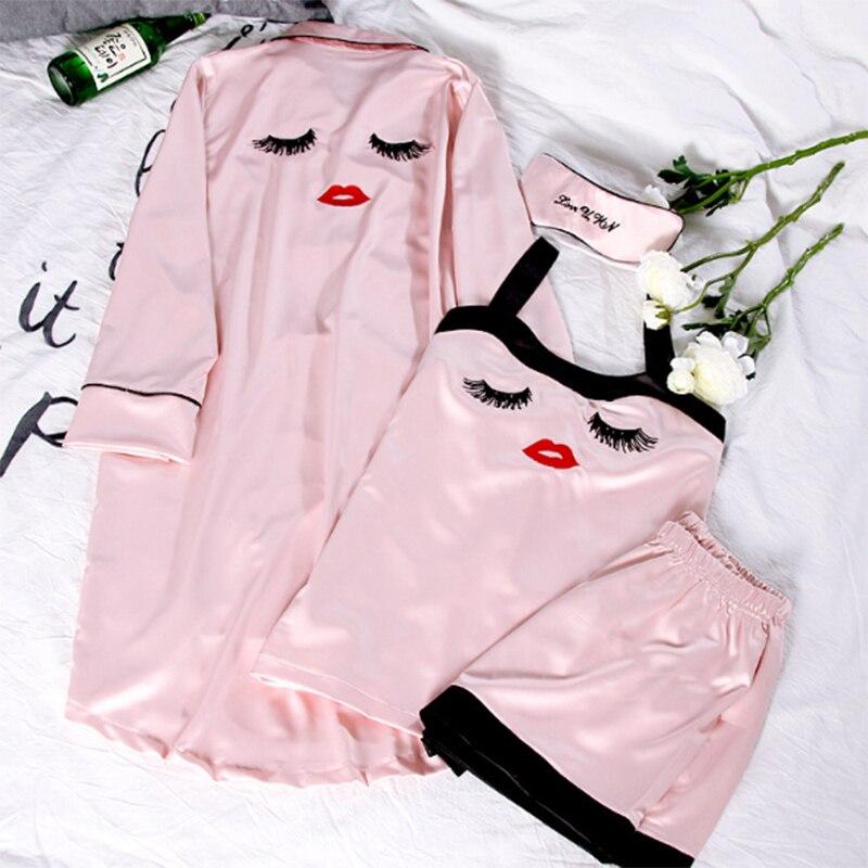 Pajama     Sets   4 Pieces   Pajamas   for Women Sleepwear Female Satin Pijama 2018 New Fashion Pyjamas Women Silk Elegant Sleep & Lounge