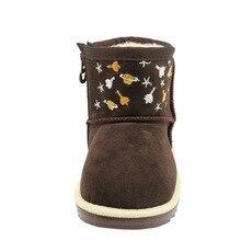 enfants d'hiver Classique Bottes de Neige En Cuir Pour Filles  Chaud Martin Bottes Chaussures Casual En Peluche
