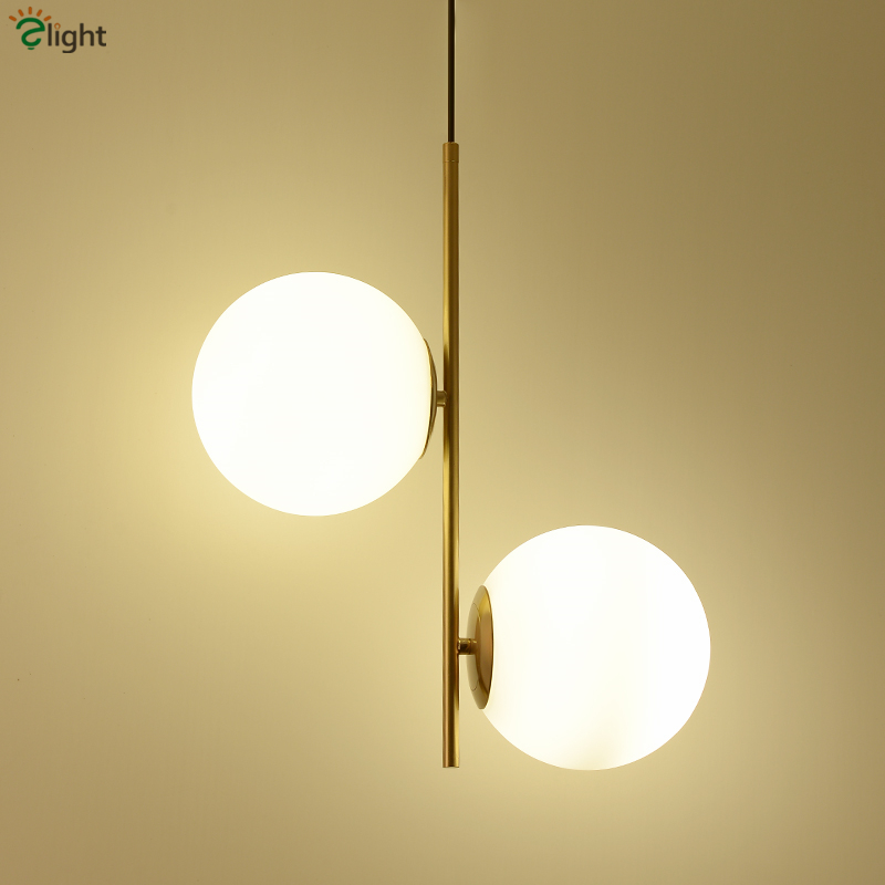Minimalism Brass Metal Led Pendant Light 2 Light Globes Hang Lamp For Living Room Indoor Lighting Lampara Fixture Suspend Lamp brass half round ball shade pendant light led vintage copper wooden lighting fixture brass wood fabric wire pendant lamp
