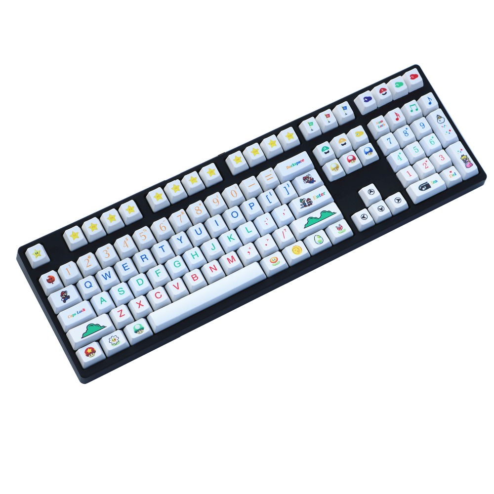 Mario tema Keycap serie PBT Material y proceso de sublimación sólo venden keycaps OEM/Cherry perfil Keycap