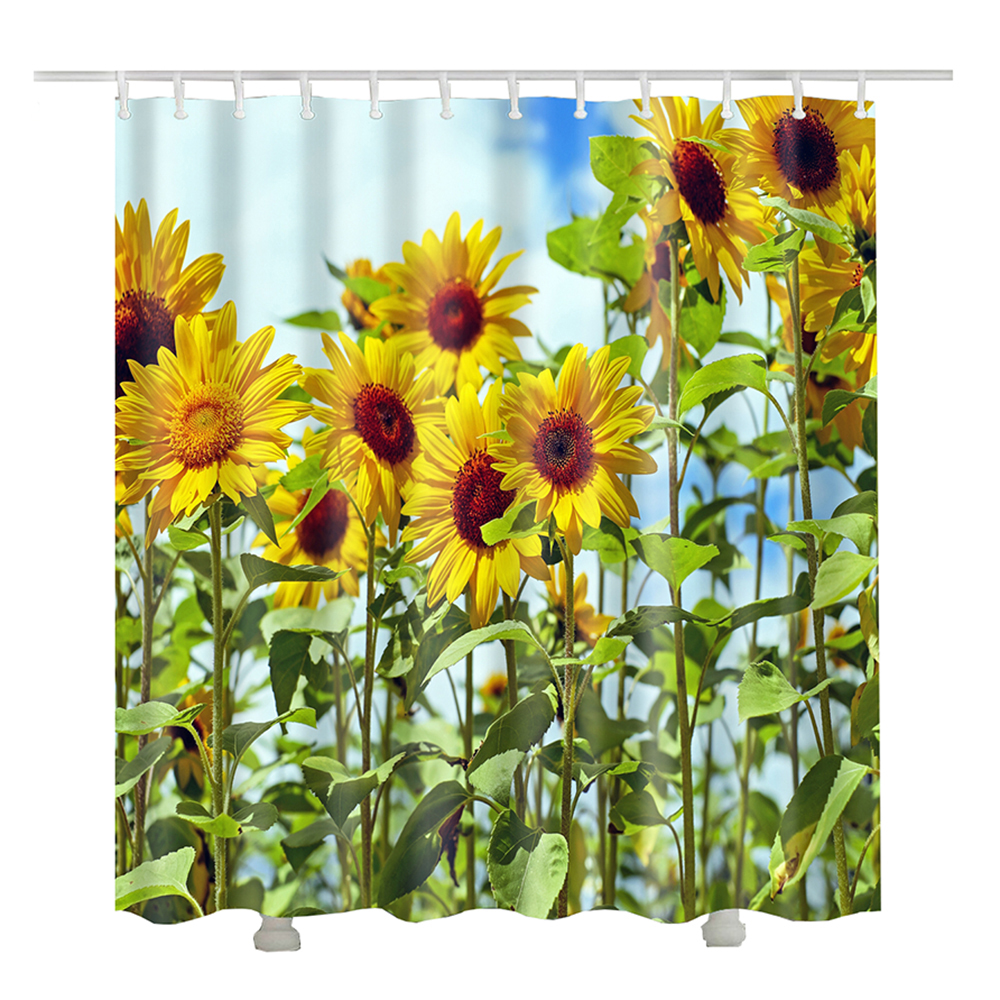 sunflower shower curtain for the bathroom curtain tenda. Black Bedroom Furniture Sets. Home Design Ideas