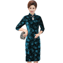 WAEOLSA Women Vintage Qipao Dress Green Purple Red Velvet Cheongsam Dresses Chinese Flower Robe Mandarin Collar Velour 4XL