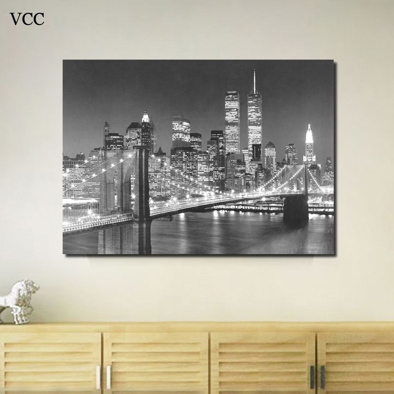 Home Decor New York Buildings Black And White Canvas Painting ...