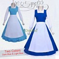 2017 Christmas Beauty and the beast Custom Made Costume girls clothes adult belle maid dress women blue cosplay costume