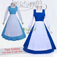 2016 Beauty And The Beast Costume Girls Clothes Adult Belle Maid Dress Women Blue Cosplay Costume