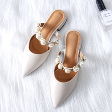Boussac Pearl Flats Shoes for Women Pointed Toe Elegant Women Mules Slip on Flat  Shoes for 45c56ebb44a9
