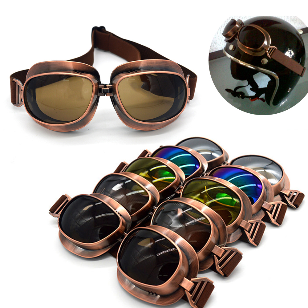 Vintage Scooter Motorcycle Goggle Glasses Cycling Goggles Pilot Motorbike Goggles Retro Jet Helmet Eyewear Silver/Copper