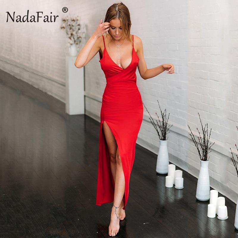 Nadafair V Neck Maxi Party Dresses Women Red Long Dress Backless Split Spaghetti Strap Bodycon Club Summer Sexy Dress Vestidos
