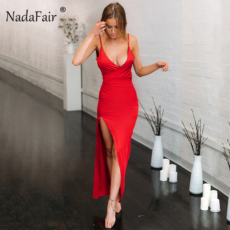 Nadafair V Neck Maxi Party Dresses Women Red Long Dress Backless Split Spaghetti Strap Bodycon Club Summer Sexy Dress Vestidos
