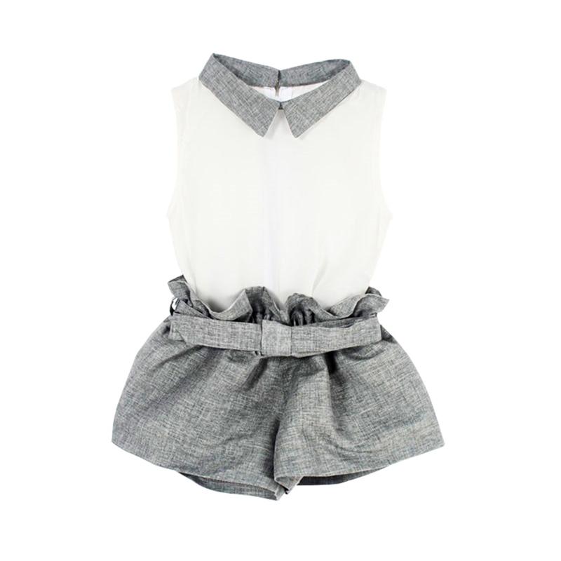 Baby Clothing Girl Baby Clothes Chiffon Summer Girls Clothing Sets T-Shirt + Gray Pants