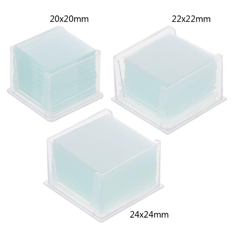 100 Pcs Transparent Square Glass Slides Coverslips Coverslides For Microscope Optical Instrument Microscope Cover Slip
