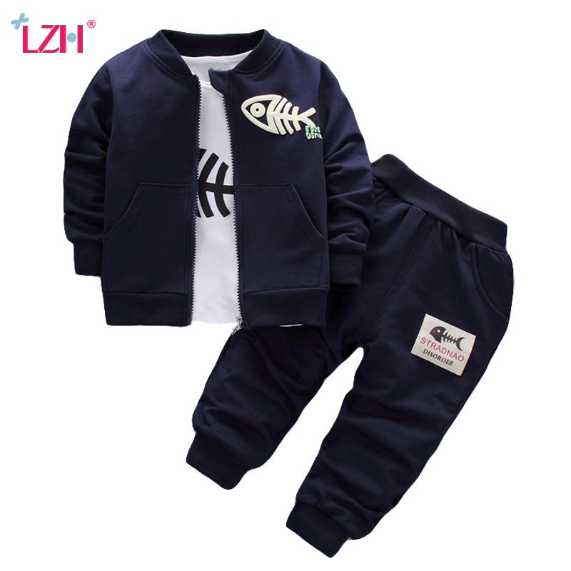 Children Clothing 2018 Autumn Winter Baby Boys Clothes Coat+T-shirt+Pants 3pcs Outfits Kids Sport Suit For Girls Clothing Sets