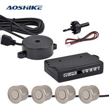 AOSHIKE 車反転レーダーと 4 センサー駐車場レーダーモニター検出器システムディスプレイ