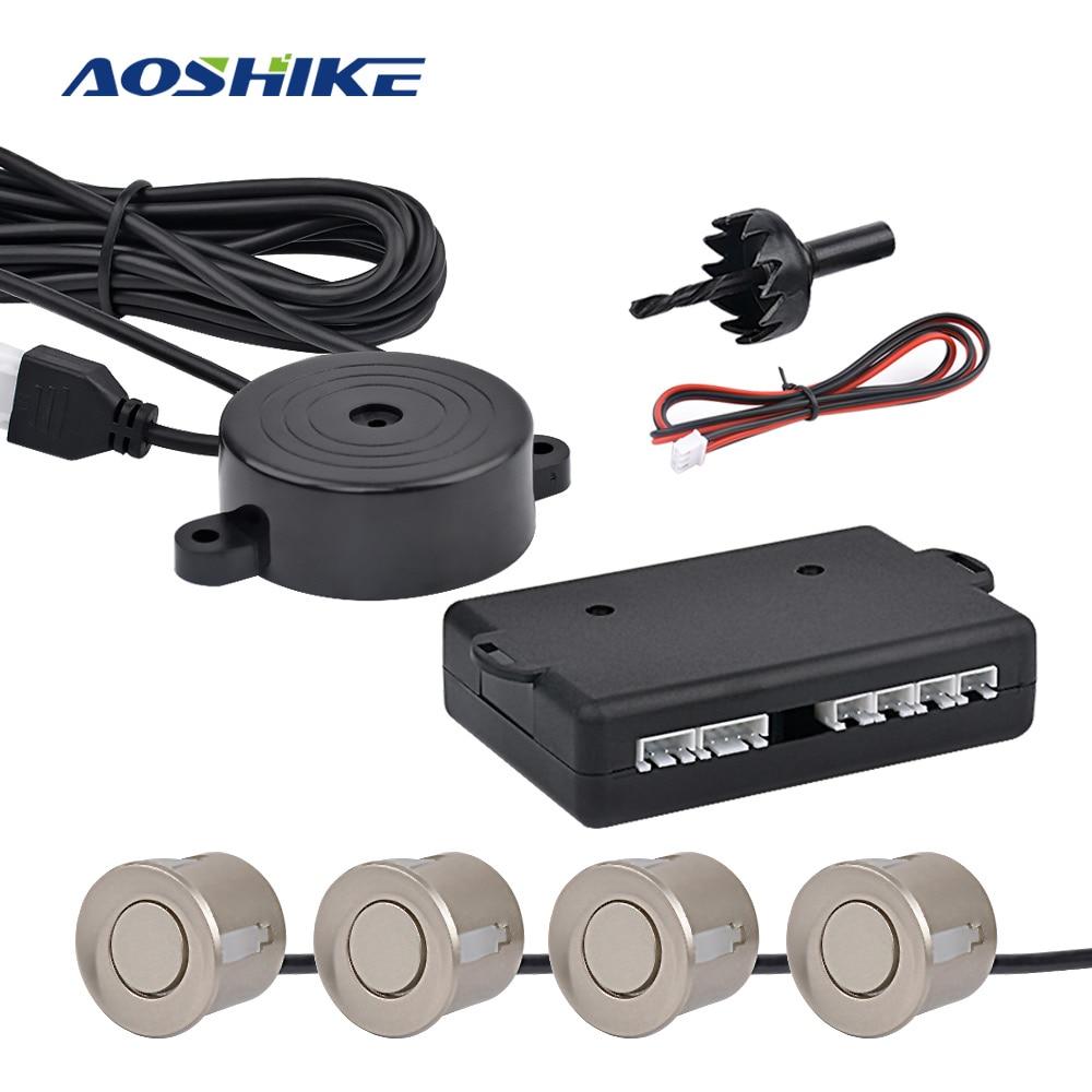 AOSHIKE samochodowy radar cofania buzzer z 4 czujnikami rewers Backup samochodowy czujnik parkowania detektor monitor systemowy