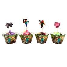 12 шт./лот Pixel Cupcake Toppers десерт обертки для пирожных украшения для детей день рождения вечерние вечеринки
